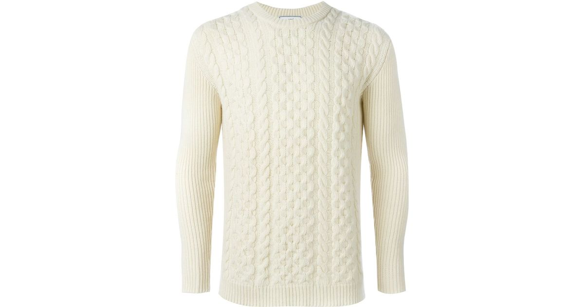 Lyst Ami Cable Knit Sweater In White For Men