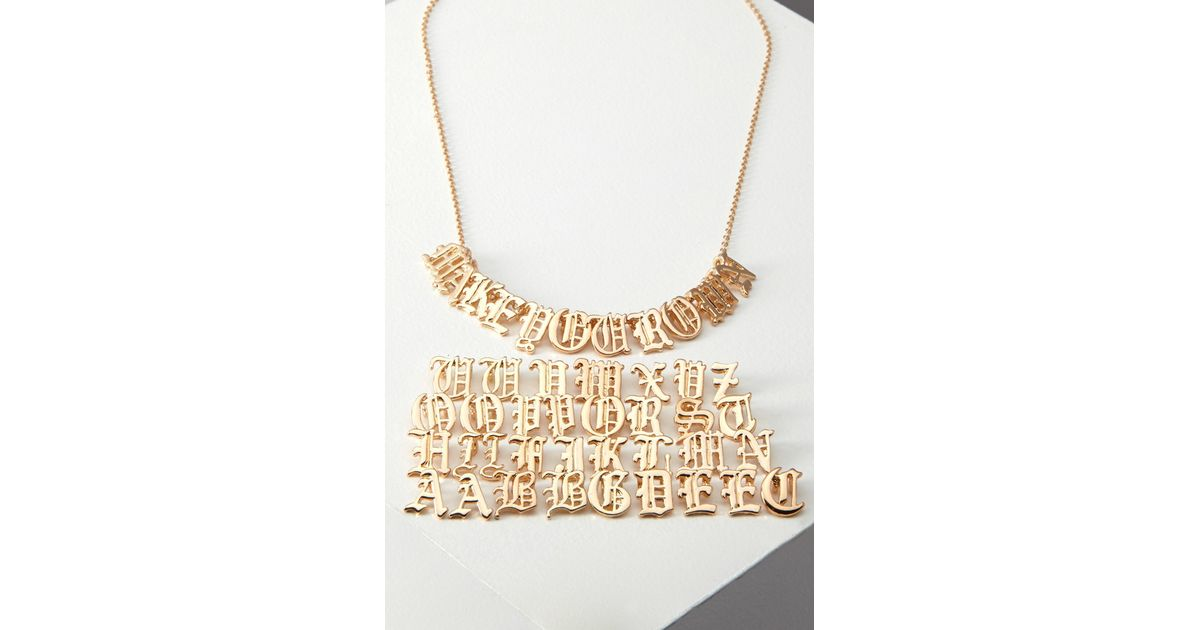 lyst forever 21 letter charm necklace youve been added to the waitlist in metallic