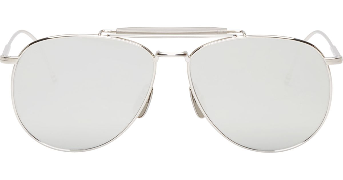 Mirrored Aviator Sunglasses  thom browne silver mirrored aviator sunglasses in metallic for men