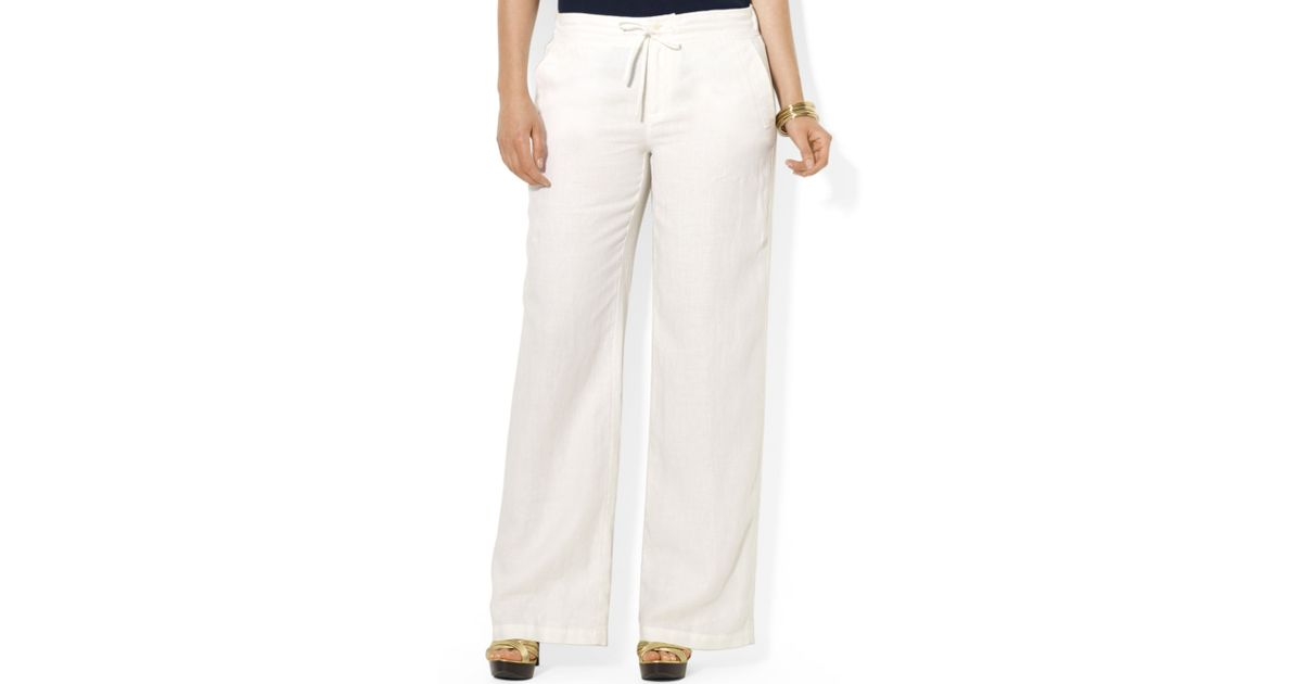 Lauren by ralph lauren Plus Size Wideleg Linen Pants in White | Lyst