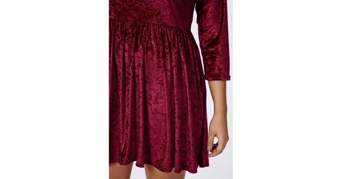 Missguided - Red Plus Size Crushed Velvet Skater Dress Burgundy - Lyst
