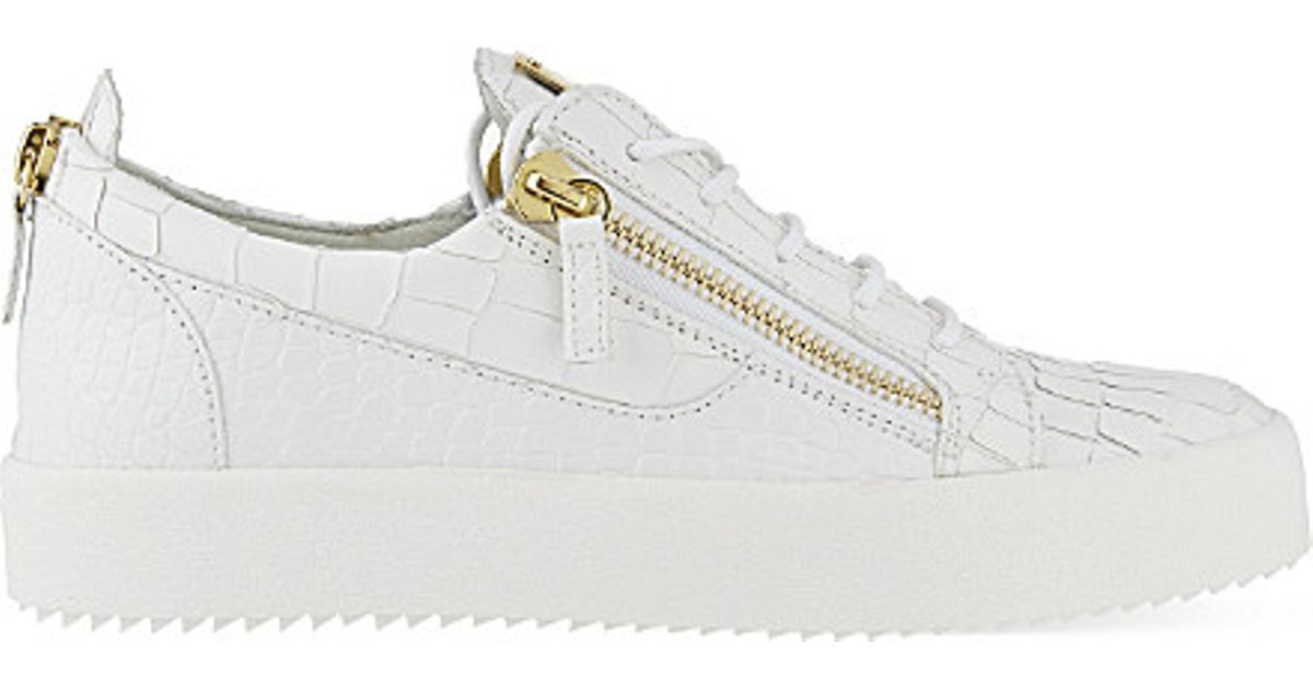 99e9c6f5aa598 Giuseppe Zanotti Crocodile-effect Leather Low-top Trainers in White - Lyst