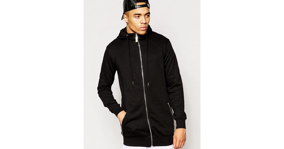 Criminal damage Longline Hoodie in Black for Men | Lyst