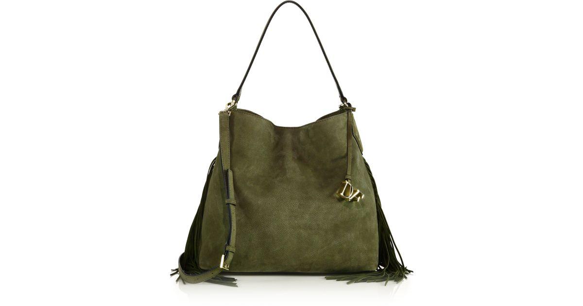 Lyst Diane Von Furstenberg Voyage Boho Fringed Suede Shoulder Bag In Green