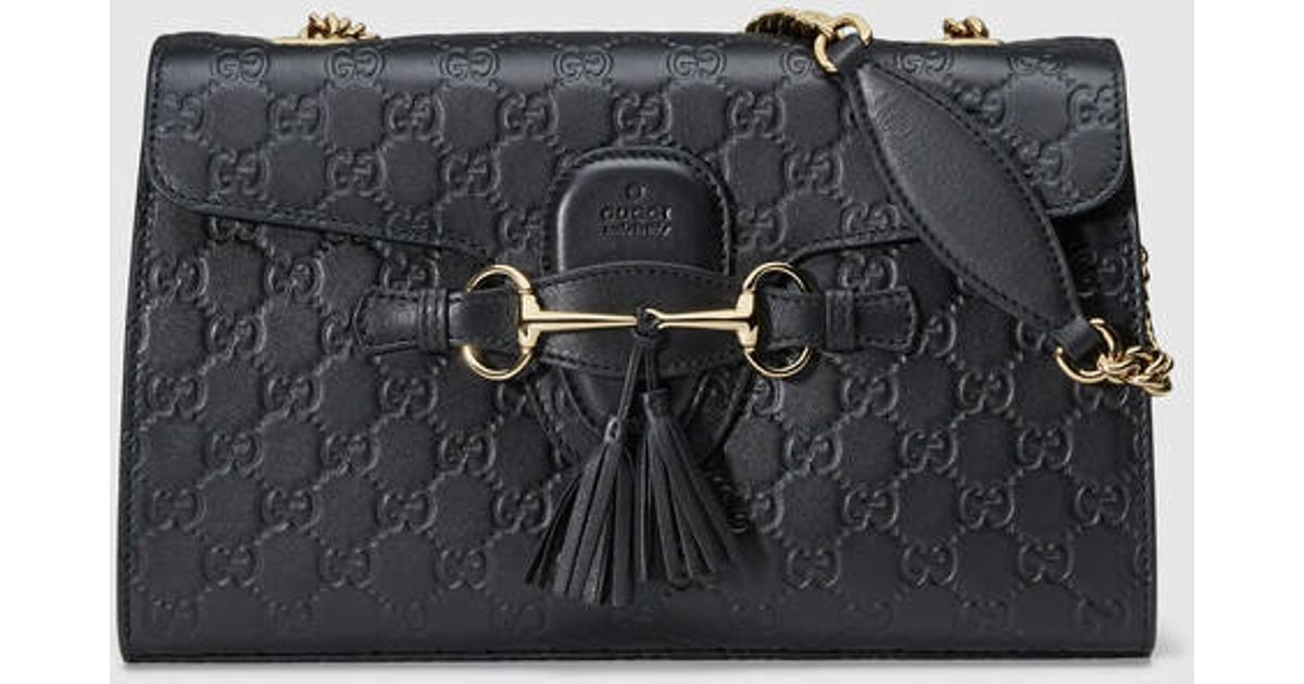 344ee57103d1 Gucci emily ssima chain shoulder bag in black lyst jpeg 1200x630 Gucci  emily shoulder bag leather