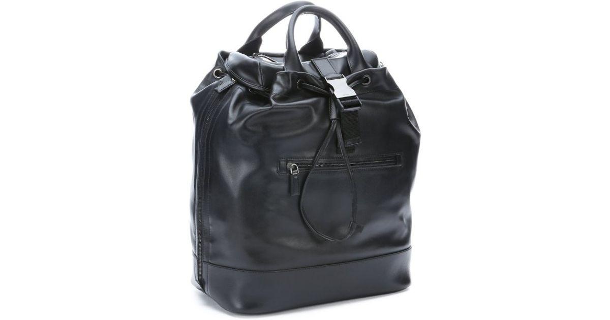 992d1af58187 ... clearance prada black leather expandable convertible backpack tote in  black for men lyst b41b4 4c9c8