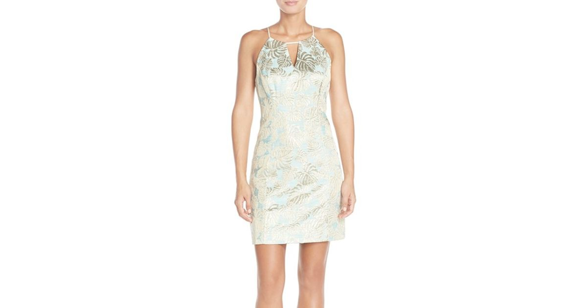 ec69b00cb9c4c2 Lilly Pulitzer 'pearl' Metallic Jacquard Sheath Dress in Blue - Lyst