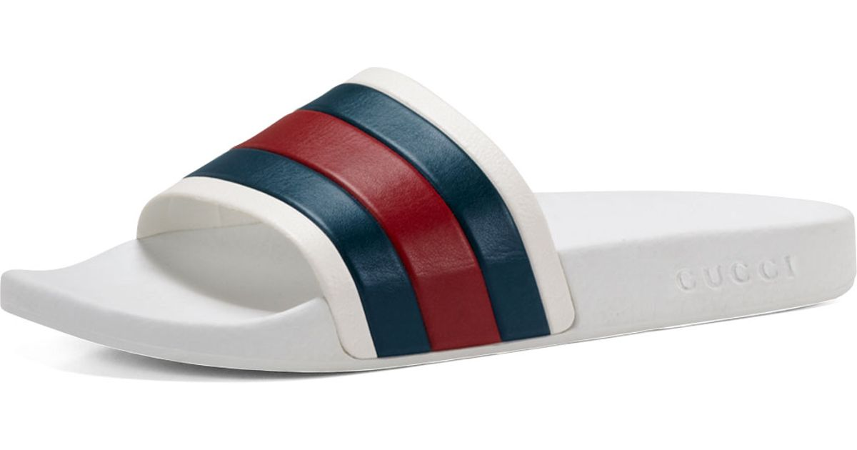 Gucci Pursuit 72 Rubber Slide Sandal In White For Men Lyst