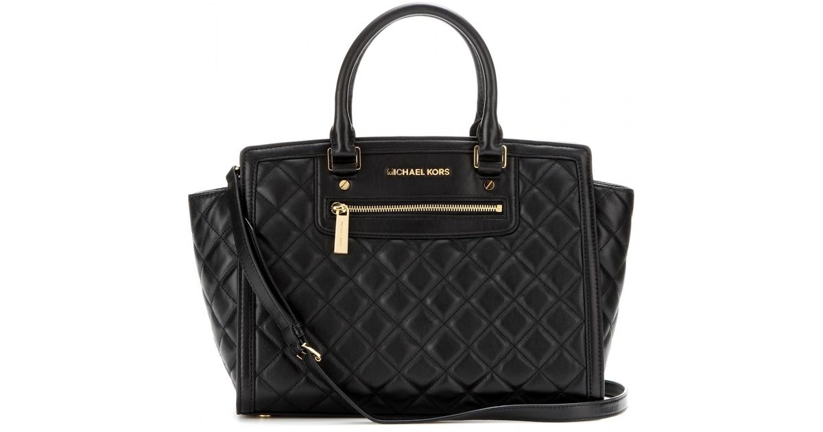 8fa164292f31 Lyst - MICHAEL Michael Kors Selma Quilted Leather Tote in Black