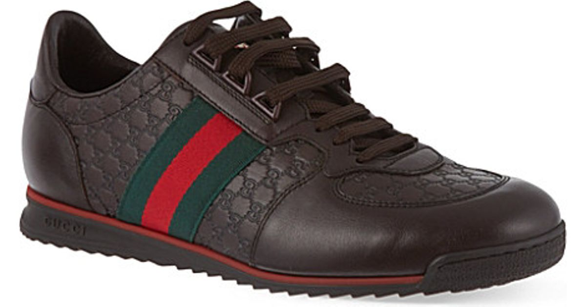 653720f47e3e Lyst - Gucci Sl73 Leather Lace-up Trainers in Brown for Men