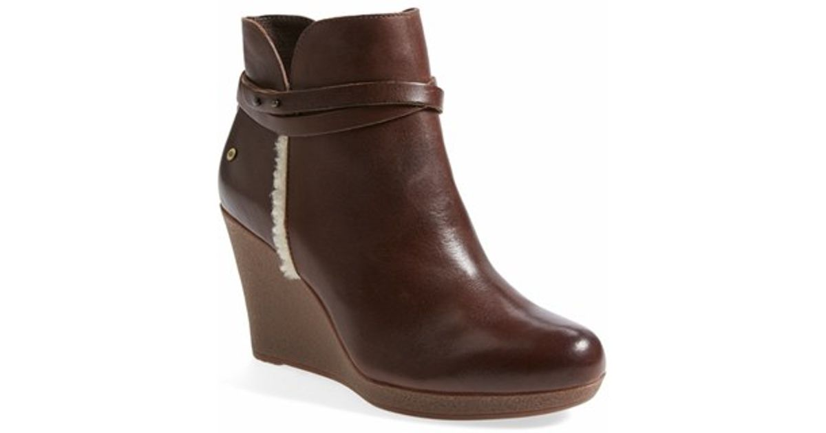 924118ab8f7 Lyst - UGG  alexandra  Water Resistant Wedge Bootie in Brown