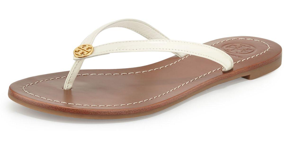 fd4356e41371db Lyst - Tory Burch Terra Patent Thong Sandals in White