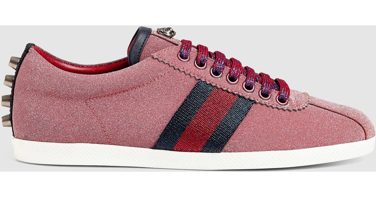 355a0c07035 Lyst - Gucci Glitter Web Sneaker in Red