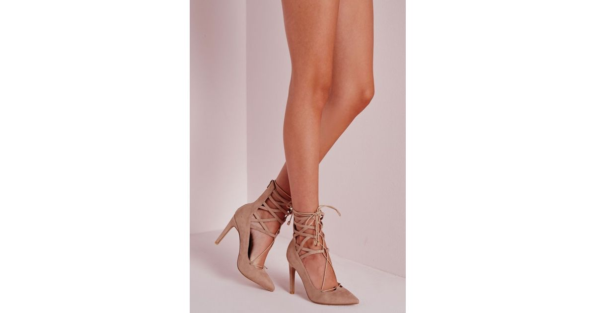 ba9fbafc454 Missguided - Natural Lace Up Stiletto Heeled Shoes Nude - Lyst