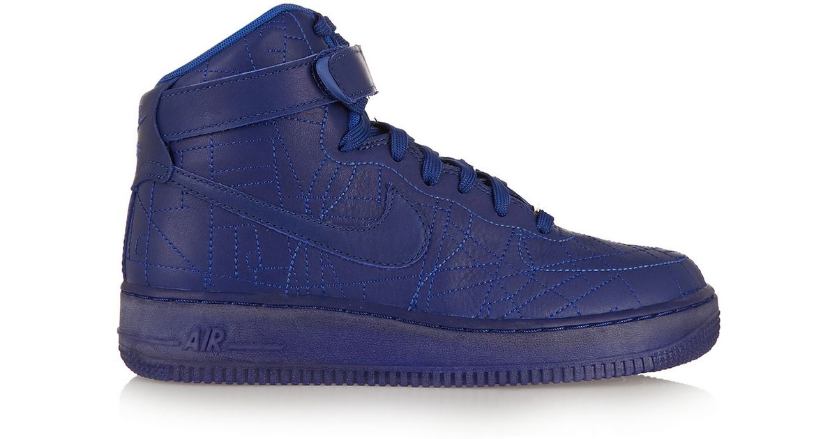 e20a357acbfd Lyst - Nike Air Force 1 Paris Leather High-Top Sneakers in Blue