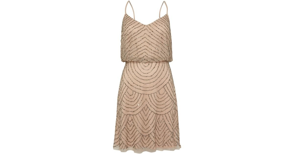 Adrianna papell art deco beaded short dress in brown taupe lyst - Deco taupe ...