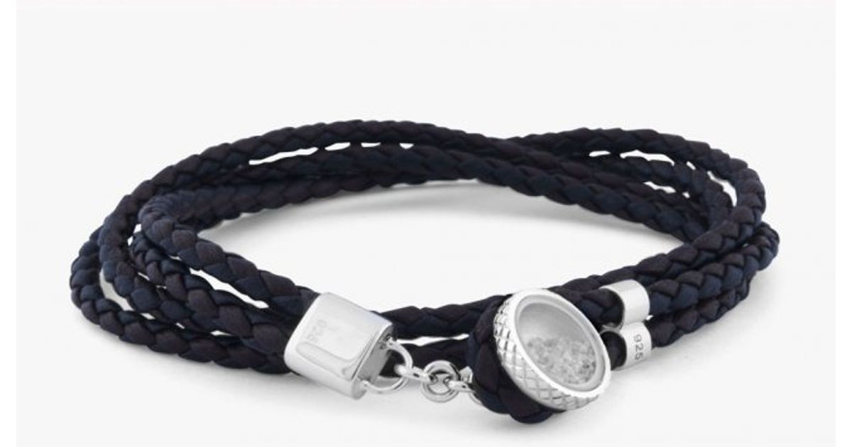 Lyst Tateossian Diamond Dust Bracelet With White Diamonds In Silver And Brown Black Leather Blue For Men