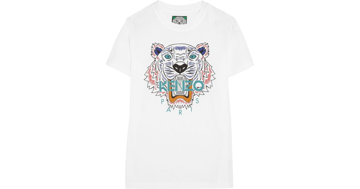 801d7b426 KENZO Tiger Cotton-Jersey T-Shirt in White - Lyst