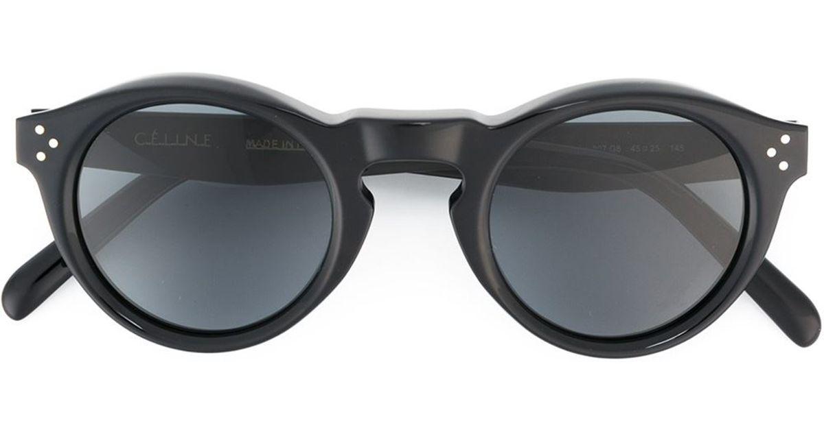 243a4b7d05b8c Céline  bevel Round  Sunglasses in Black - Lyst