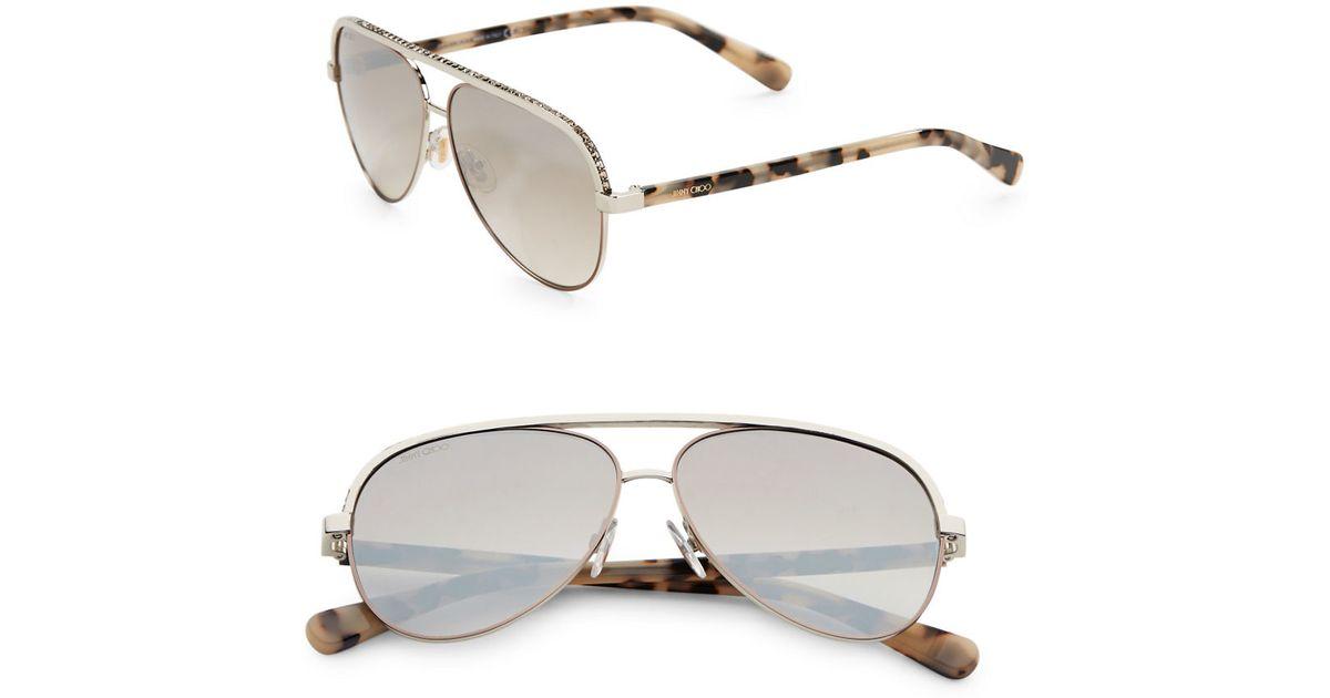 5ae61a924d6c Lyst - Jimmy choo Linas 59mm Metal Aviator Sunglasses in Metallic