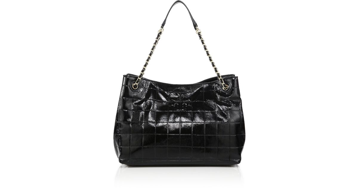 c5c7761eba94 Lyst - Tory Burch Marion Quilted Patent Leather Chain Shoulder Bag in Black