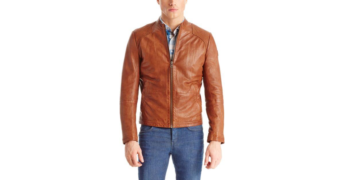Boss orange men's jips leather biker jacket