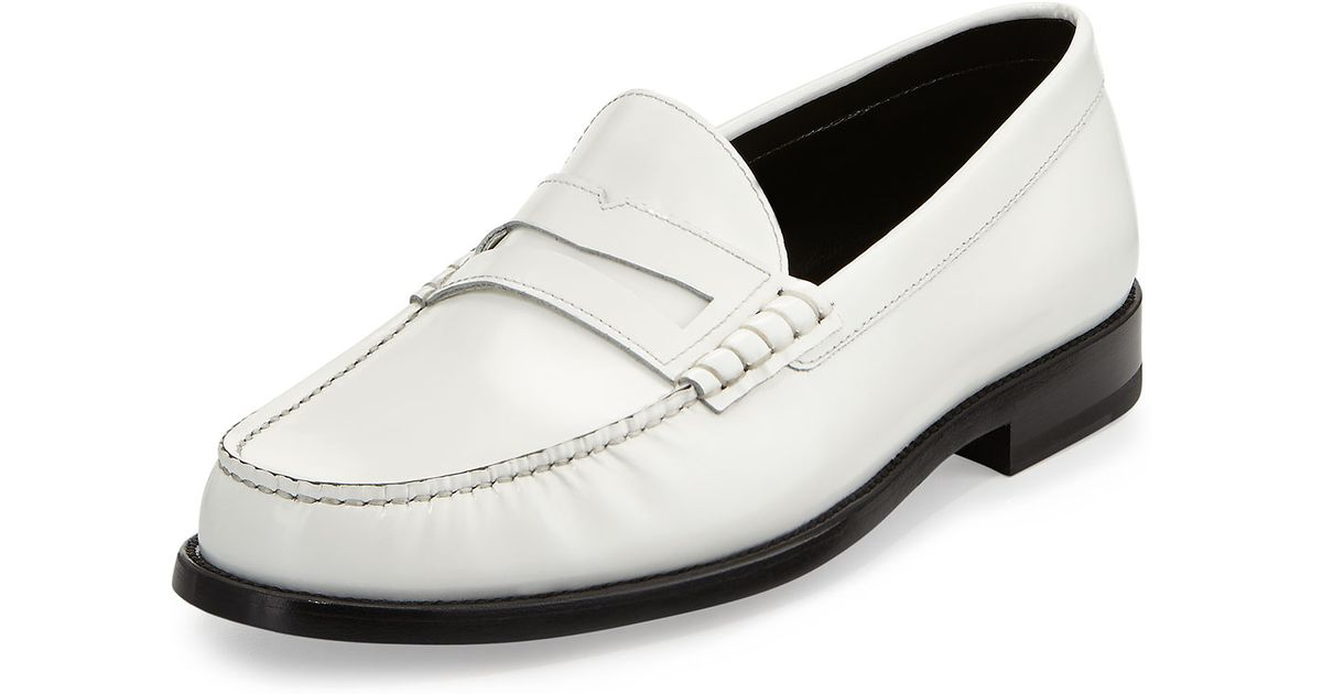 eb1a719beaa Lyst - Saint Laurent Classic Leather Penny Loafer White in White for Men