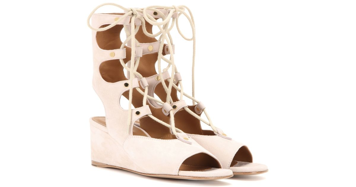 Chlo 233 Foster Suede Gladiator Wedge Sandals In Pink Lyst