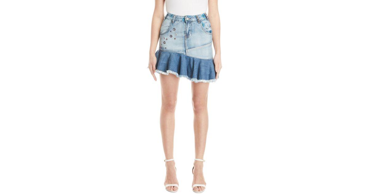 ea69486f62 Desigual Eleni Flounce Denim Skirt in Blue - Lyst