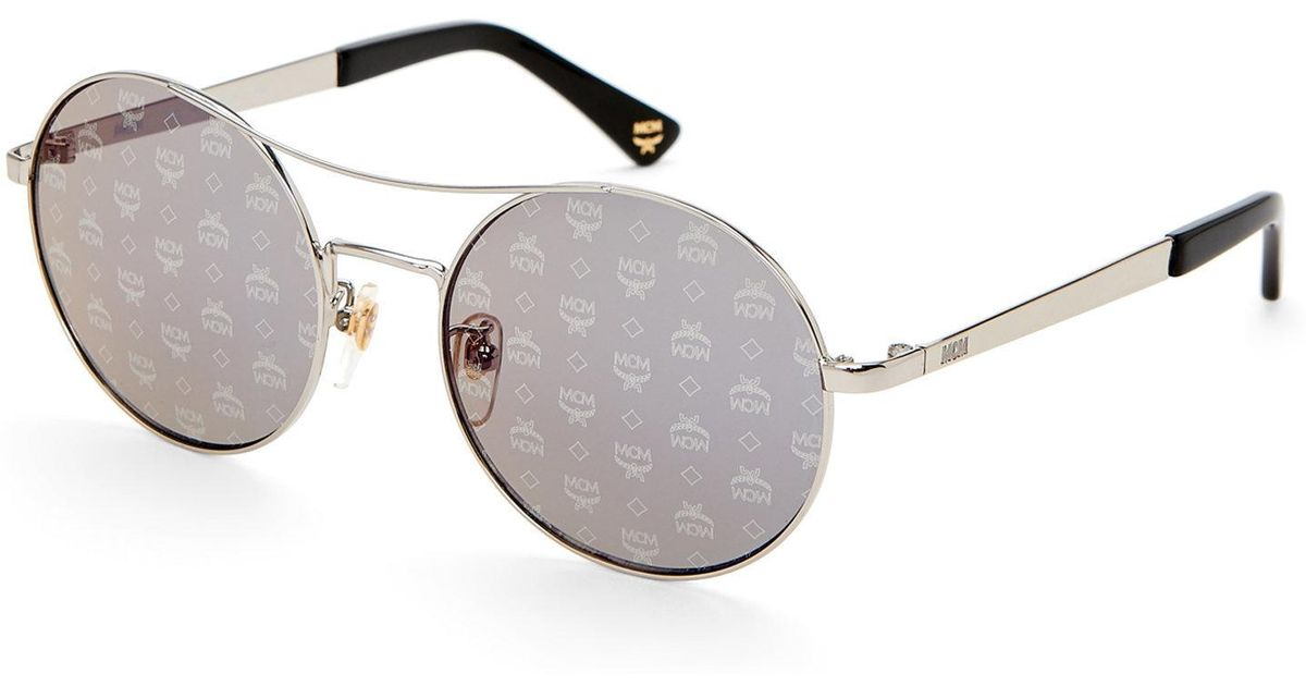dfc0e5ee07 Lyst - MCM Logo Lens Round Sunglasses in Metallic