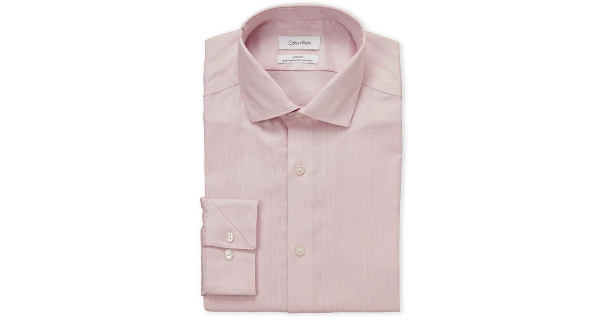 5f64b8bb813 Lyst - Calvin Klein Blossom Basket Weave Slim Fit Dress Shirt in Pink for  Men