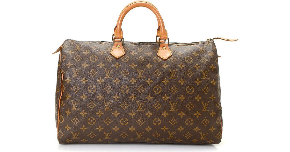 3466518f7fdb Lyst - Louis Vuitton Speedy 40 Monogram Handbag - Vintage in Brown