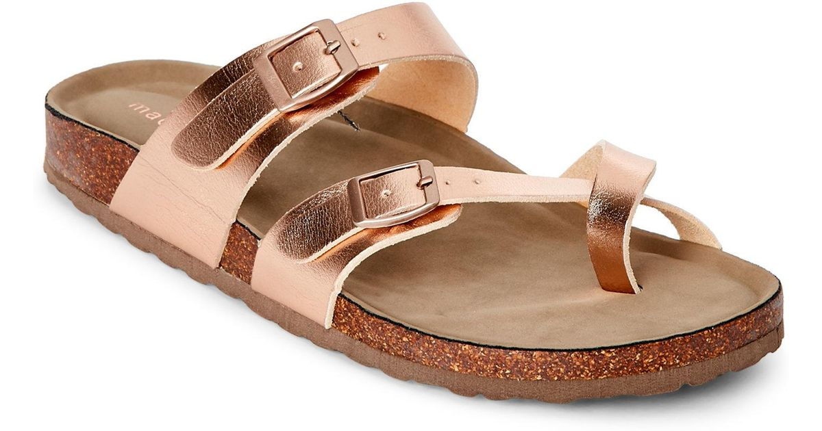 d4ab7f6d5fc2 Lyst - Madden Girl Rose Gold Bryceee Footbed Sandals