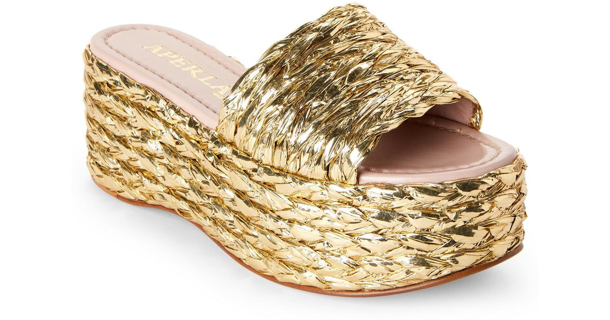 6f789cd3f388 Lyst - Aperlai Gold Silver   Gold Metallic Braided Platform Slide Sandals  in Metallic