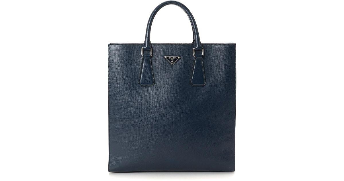33477d5fa6 Lyst - Prada Saffiano Tote Bag - Vintage in Blue