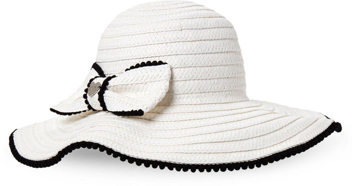 acc00b177fc071 Betsey Johnson Bow Pom-pom Floppy Hat in White - Save 52% - Lyst