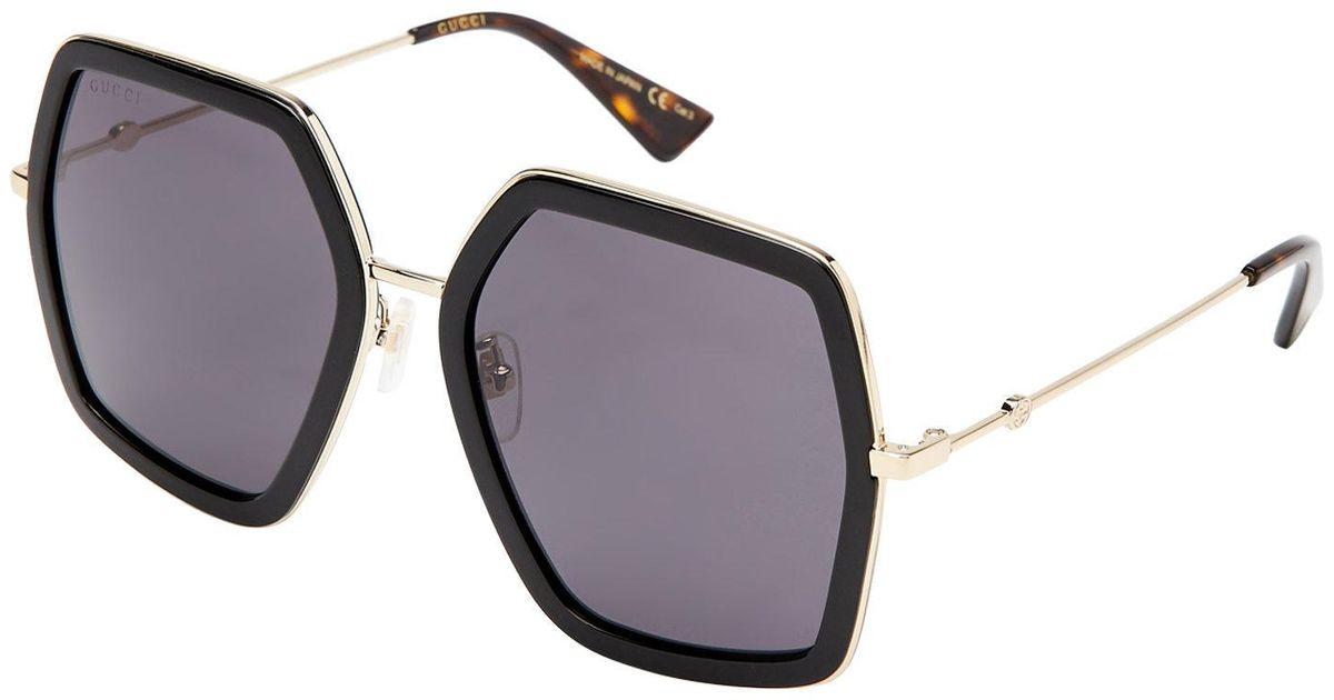 32538f99dcd22 Gucci Gg 0106 s Black Hexagon Sunglasses in Black - Lyst