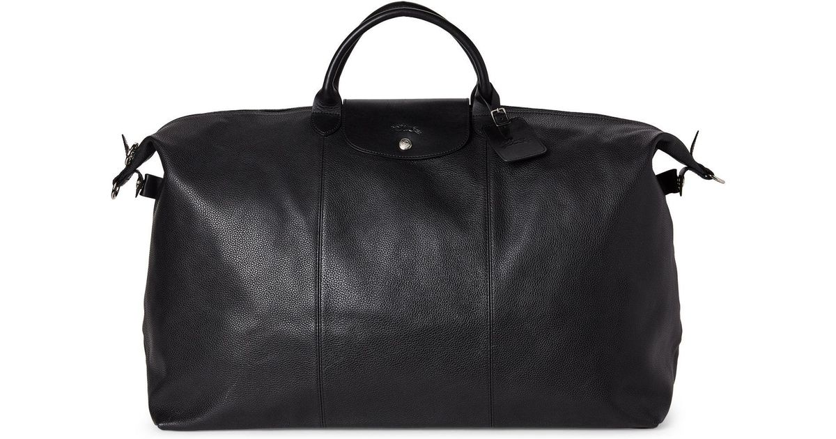 c9b34a78191b Longchamp Black Le Foulonné Xl Leather Travel Bag in Black - Lyst