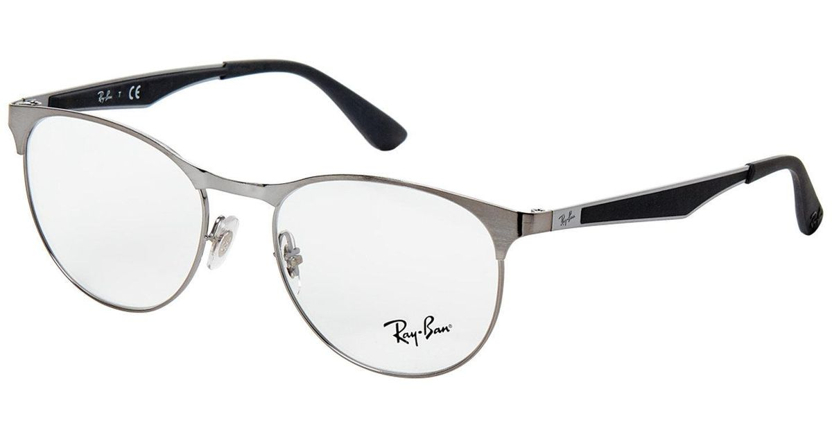 Lyst - Ray-Ban Rb 6365 Ruthenium-tone Semi-rimless Optical Frames