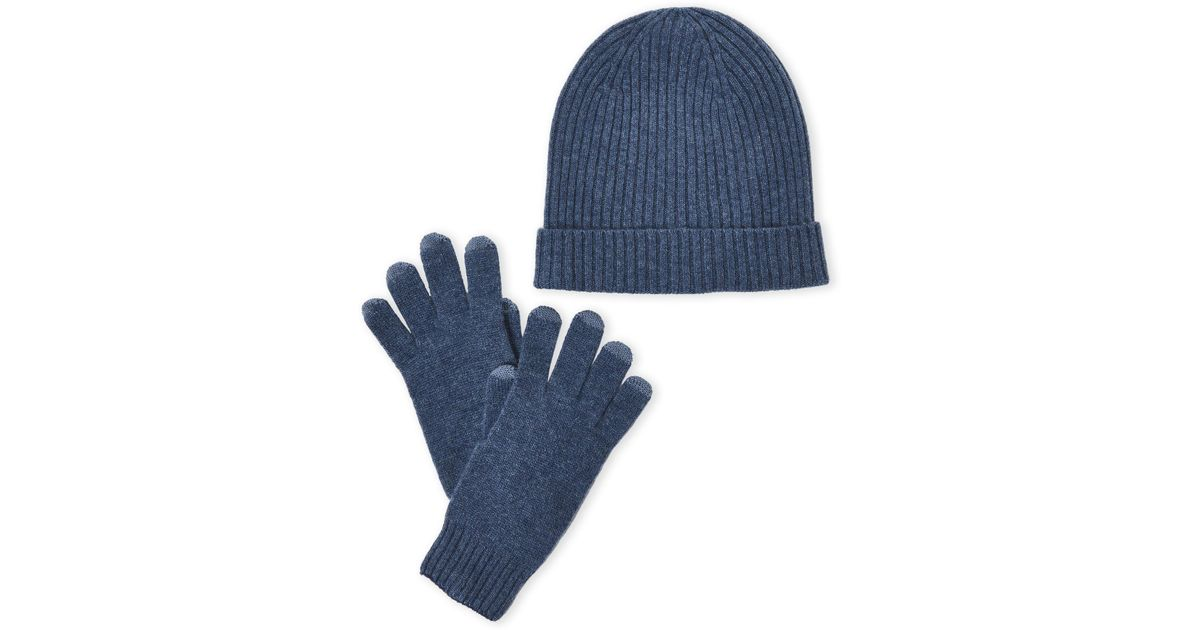 d2ea27714e4 Lyst - Qi Two-piece Cashmere Hat   Tech Glove Set in Blue for Men