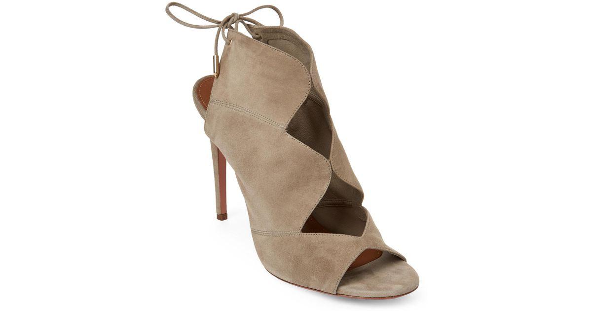 87389540d50 Lyst - Aquazzura Pasadena Suede Cutout Sandals