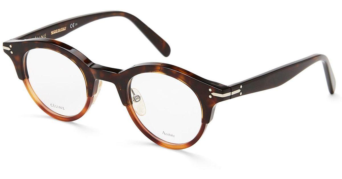 Lyst - Céline Cl 41421 Dark Havana Round Optical Frames in Brown
