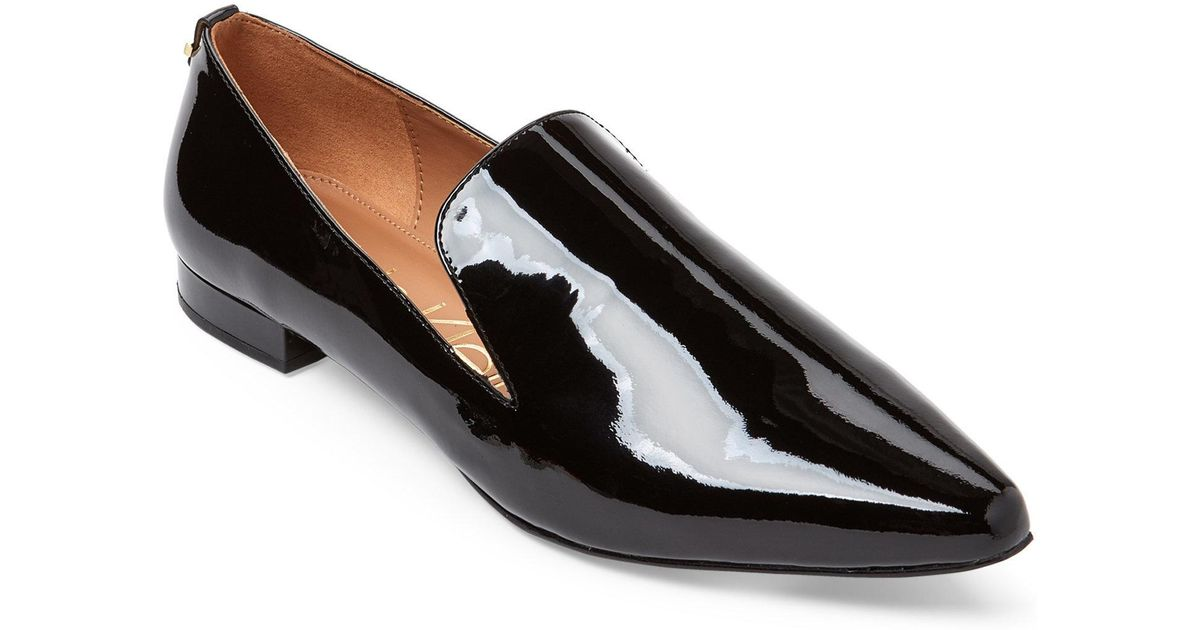 1d69bc5b4c1 Lyst - CALVIN KLEIN 205W39NYC Black Elin Patent Pointed Toe Loafers in Black