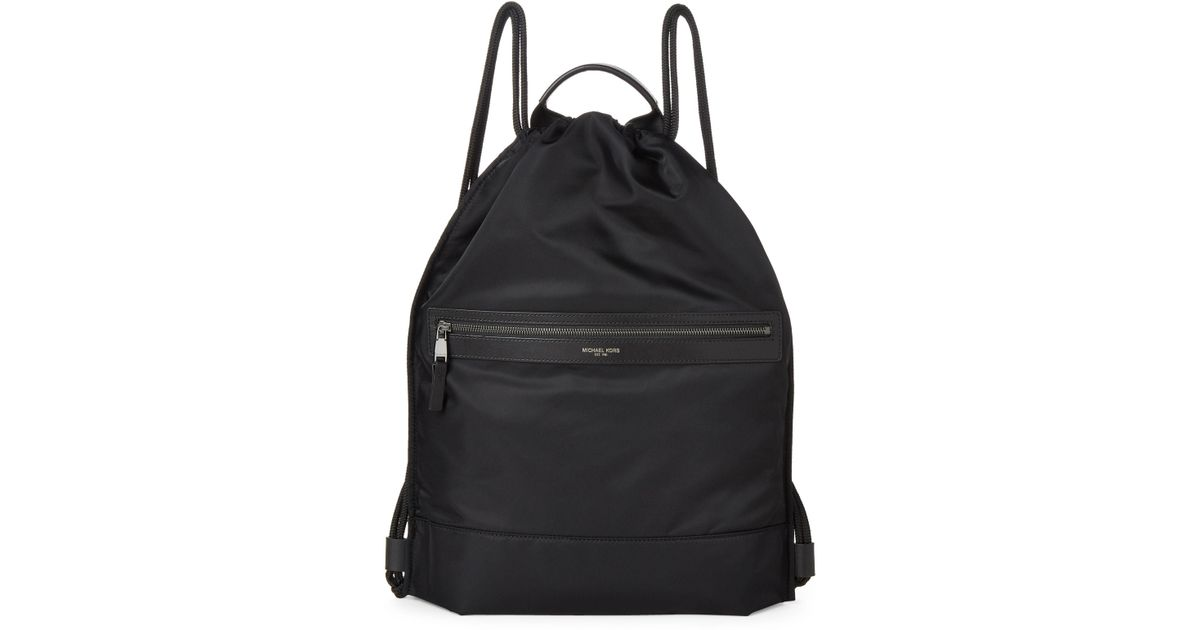 fa545b4f336b Michael Kors Black Kent Flat Drawstring Backpack in Black for Men - Lyst