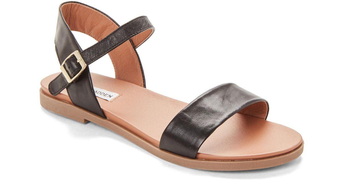 f0eba810a2c6 Lyst - Steve Madden Black Dina Leather Flat Sandals in Black