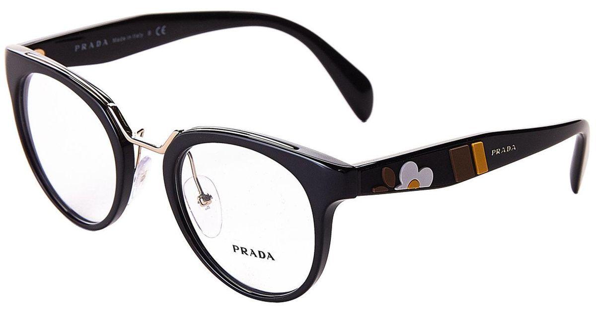 Lyst - Prada Vpr 03u Black Flower Round Optical Frames in Black