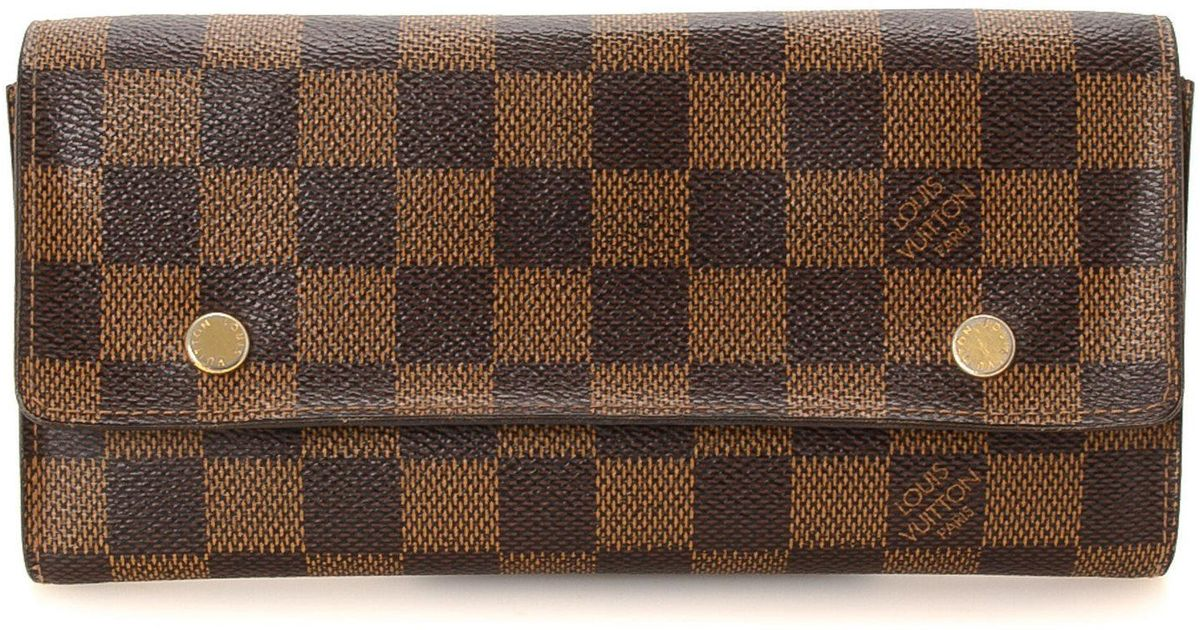 e69e64413196 Lyst - Louis Vuitton Adjustable Organiser Damier Ebene Wallet - Vintage in  Brown
