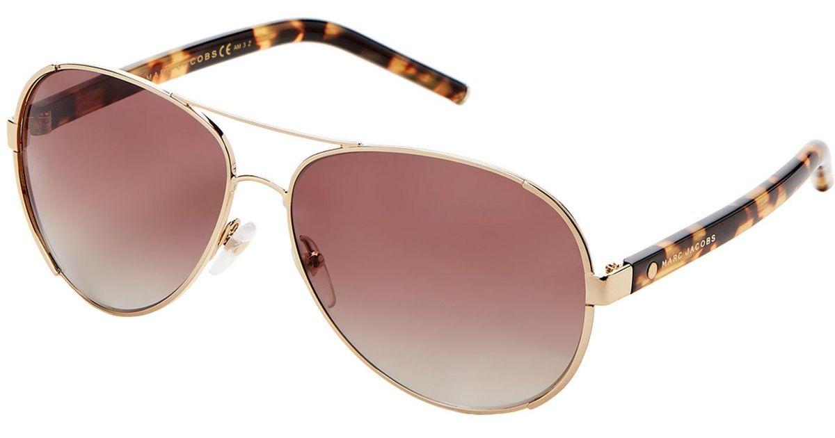 6ec41f787bb Lyst - Marc Jacobs Marc 66 s Gold-tone Aviator Sunglasses