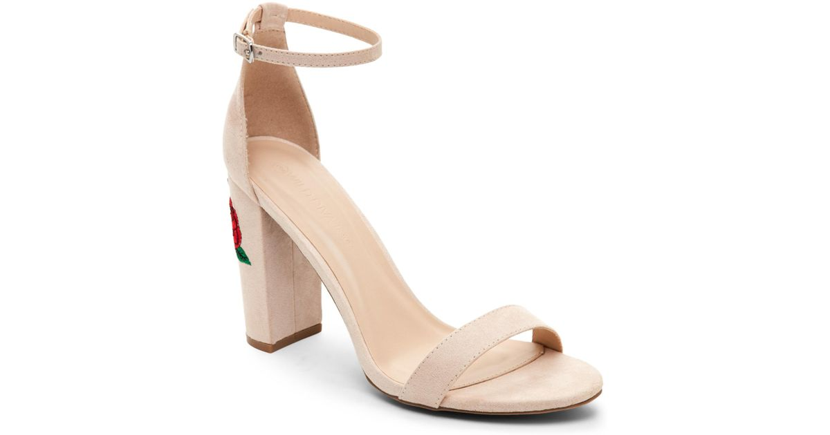 113f54a5d0 Wild Diva Nude Morris Embroidered Block Heel Sandals in Natural - Lyst