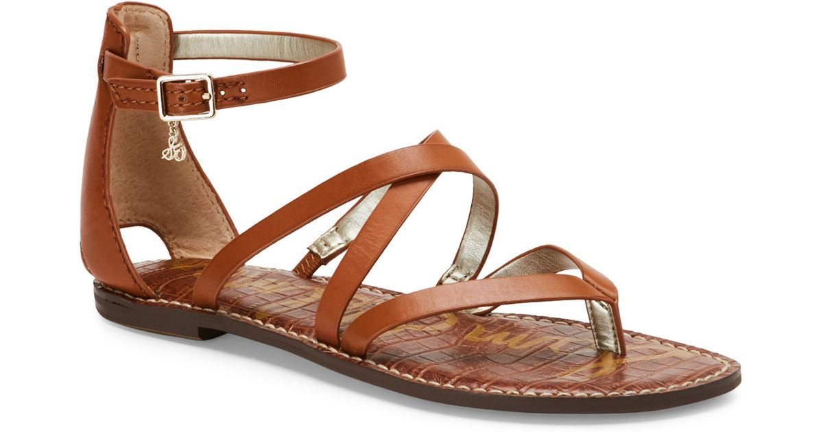 Sam edelman saddle gilroy strappy flat sandals in brown lyst for Gilroy outlets jewelry stores